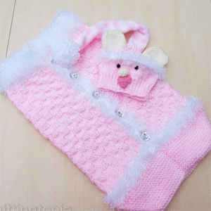 Baby cocoon and hat set 'Little Pink Teddy'
