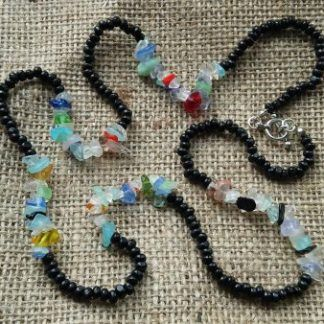 Colourful long necklace with mixture of beads