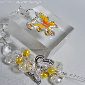 Butterfly sun catcher - yellow / orange - filigree style