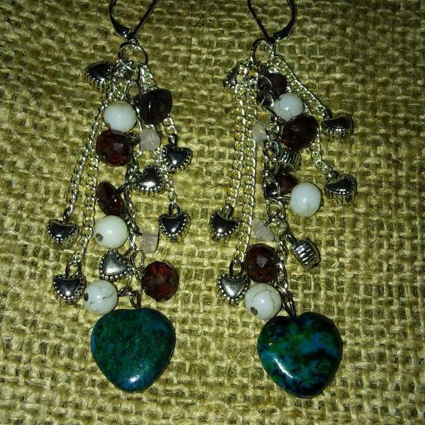 Long gemstone charm earrings