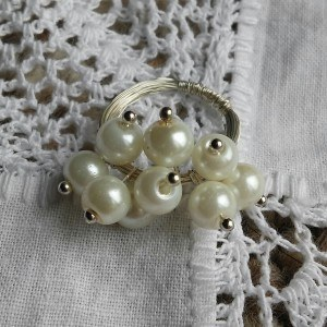 Faux pearl cluster ring