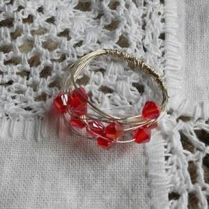 Red swarovski crystal ring