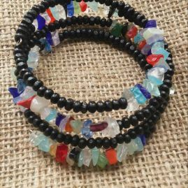 Multi coloured glass bracelet