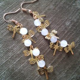 Moonstone dragonfly earrings