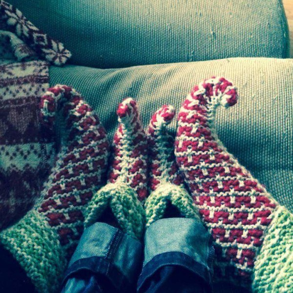 Elf Slippers Hand Knitted for Christmas