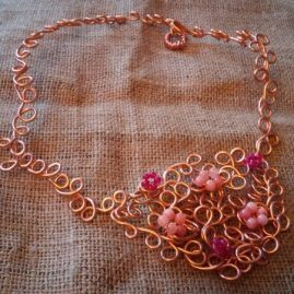 Ruby and morganite asymmetric wire necklace