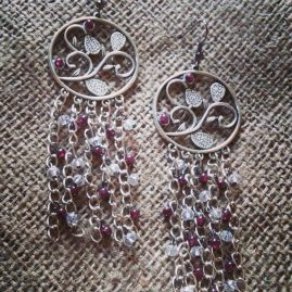 Long garnet chandelier earrings