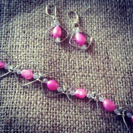 Pink pearl wire bracelet and earrings set