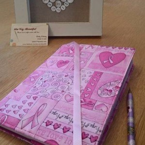 Fabric notebook cover pink heart breast cancer awareness