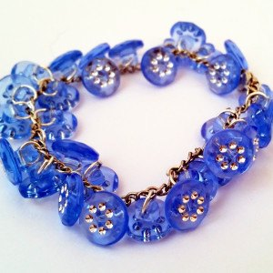 Unique handmade blue button bracelet