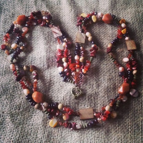 Long autumnal gemstone necklace