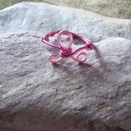 Pink awareness ribbon ring