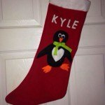 Penguin Christmas stocking, personalised