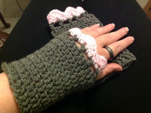 Hand crocheted wrist warmers with thumb loops - any colour