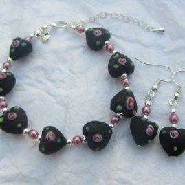 Romantic rose pink and black heart pearls silver plated bracelet and earrings