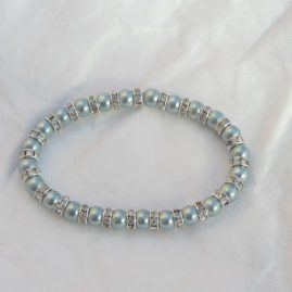 Light blue Shell Pearl elasticated bracelet with Rhinestine diamante spacer beads