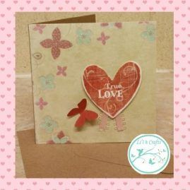 True love butterfly valentines card. Blank inside