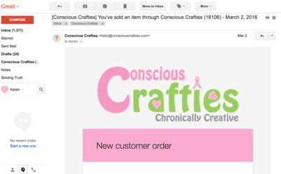 Order Confirmation email for selling online crafts