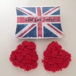 Queen of hearts felt rose heart shoe clips – any colour