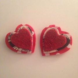 Queen of hearts shoes clips, red and black glitter shoe clips