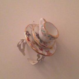 Cute adjustable tea cup ring, tea party ring floral tea cup ring