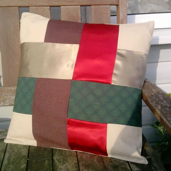 Celtic Weave recycled fabric patchwork cushion cover