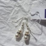 Silver plated earrings with Swarovski crystal white pearls and crystal beads