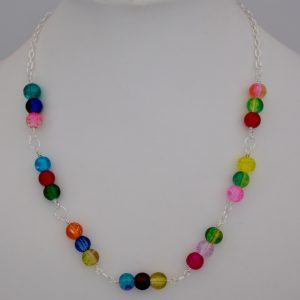 multicoloured crackle bead necklace