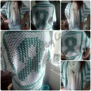 Crochet Ribbon Awareness Shawl Shrug