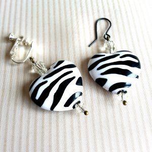 Zebra Heart Earrings for unpierced or pierced ears