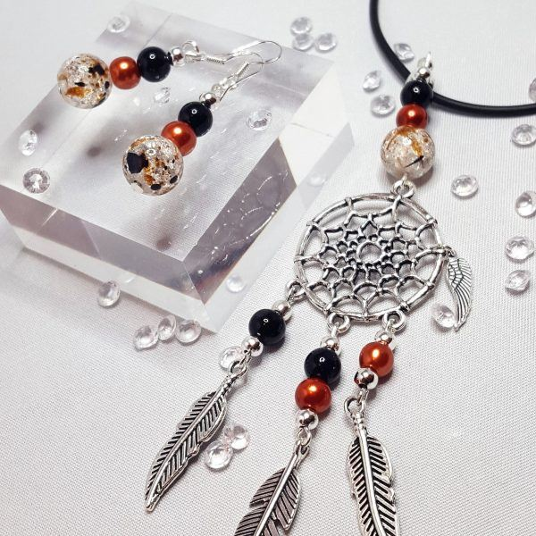Dream Catcher Necklace and Beaded Earring Set Black and Brown