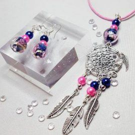 DREAMCATCHER NECKLACE PINK AND BLUE KATTYS CRAFTS