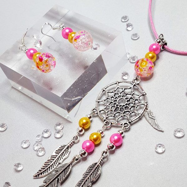 Dream Catcher Necklace and Beaded Earring Set Pink and Yellow