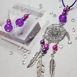 DREAMCATCHER NECKLACE PURPLE KATTYS CRAFTS