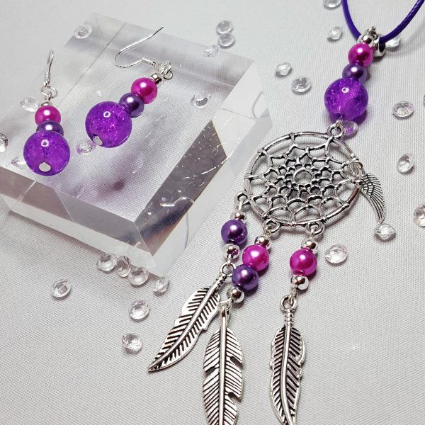 Dream Catcher Necklace and Beaded Earring Set Purple