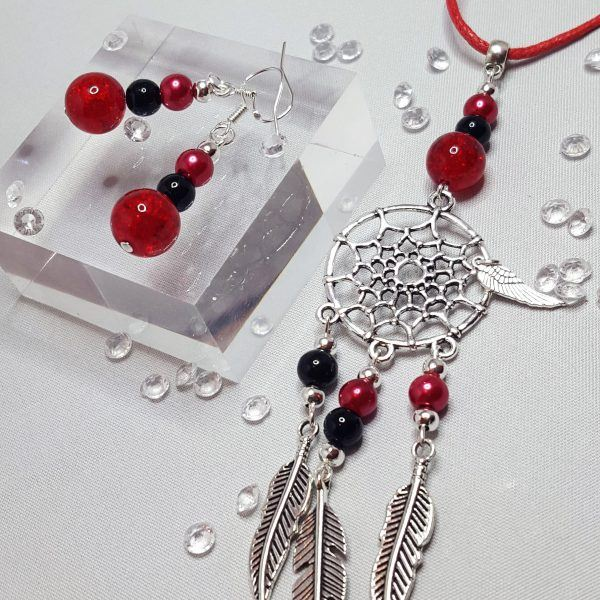 Dream Catcher Necklace and Beaded Earring Set Black and Red