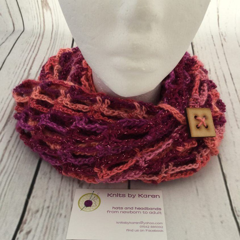 Hand Crocheted Sparkly Artfully Simple Infinity Scarf - choose colour