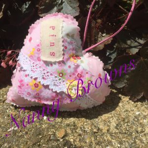 Personalised appliquéd heart and lace pin cushion