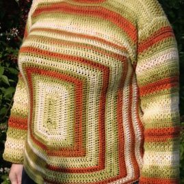 Hand crocheted jumper – 'Squares'