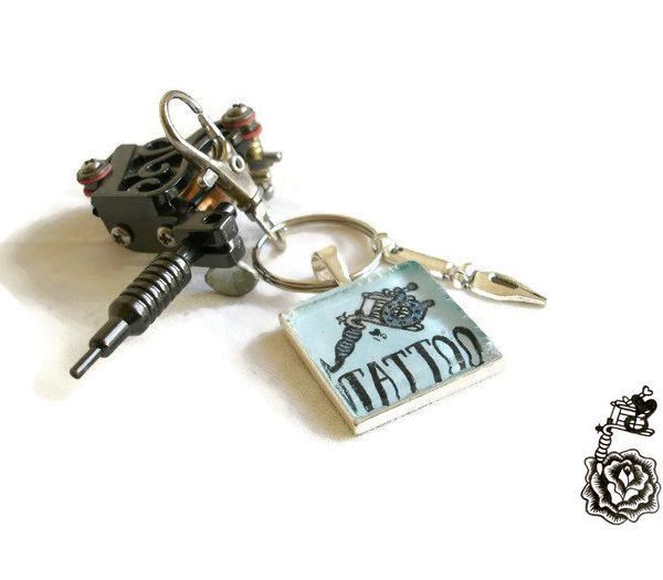 Blue tattoo machine art cameo key ring tattoo artist key for Gifts for tattoo artist