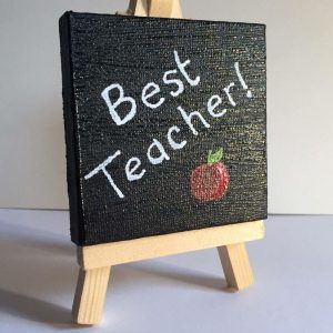 Teacher gift school leaving present, mini canvas and easel