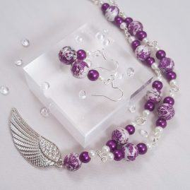 purple angel wing jewellery set – kattys crafts 2
