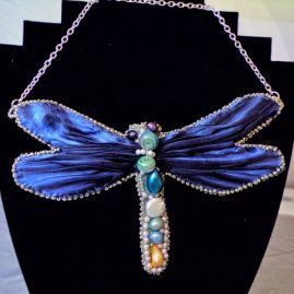 Shibbori ribbon dragonfly necklace 2