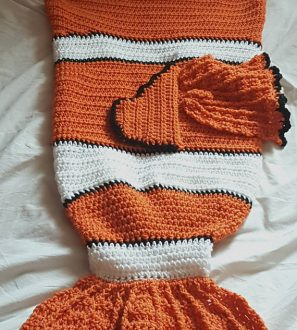 Clownfish Tail Novelty Crochet Blanket