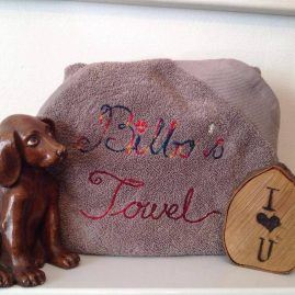 Dog towel personalised