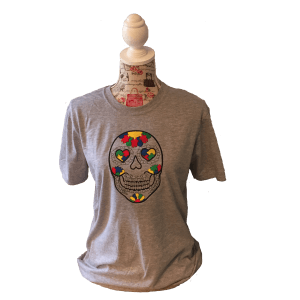 Autism Candy Skull T Shirt