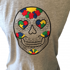 Autism Candy Skull T Shirt2