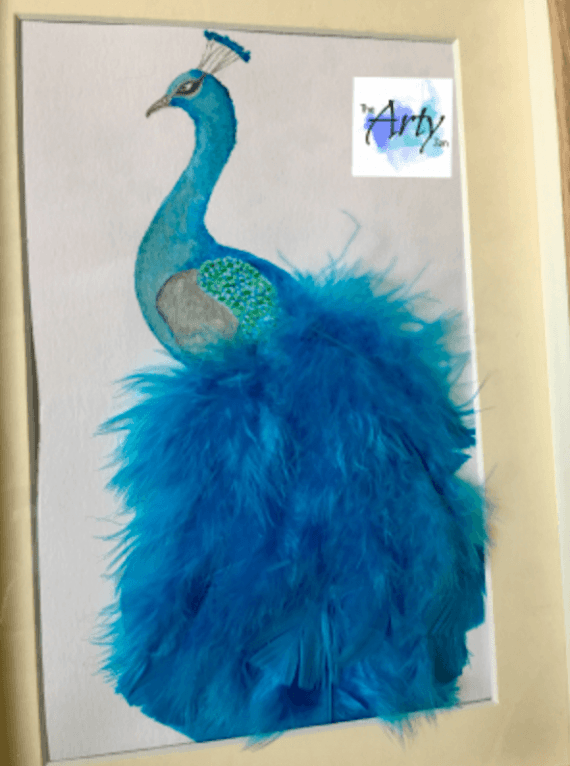 Original Watercolour Feathered Peacock Painting