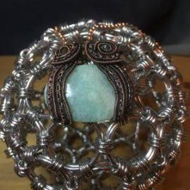 captured amazonite pendant and chain 3