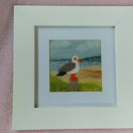 Needlefelt Miniature Seagull at the Beach Picture